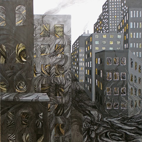 Donna Backues' mix media collage of cityscape