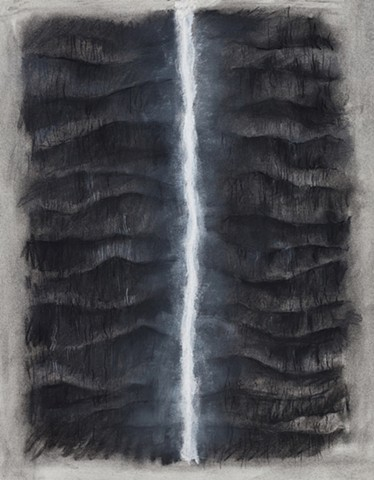 charcoal drawing of 2 palm trunks and light by Donna Backues