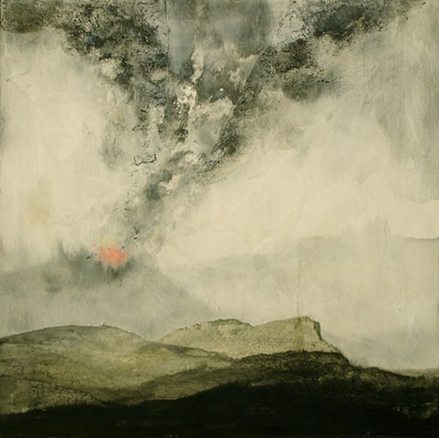Donna Backues' mix media collage of volcano