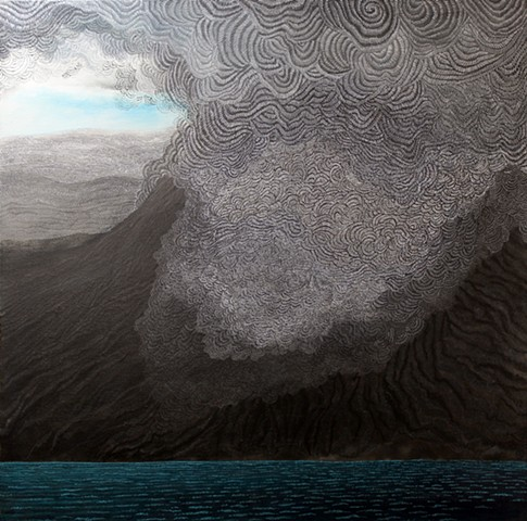Volcano by the Sea mix media artwork on canvas by Donna Backues