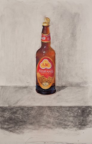 charcoal still life drawing of sweet soy sauce bottle by Donna Backues