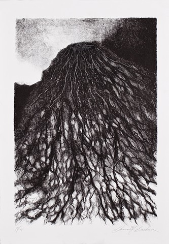 lithograph print abstract inspiration from Javanese volcano by Donna Backues