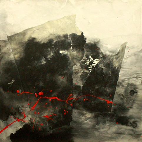 Collaged art papers, ink, gesso, acrylic, charcoal, graphite on birch board.