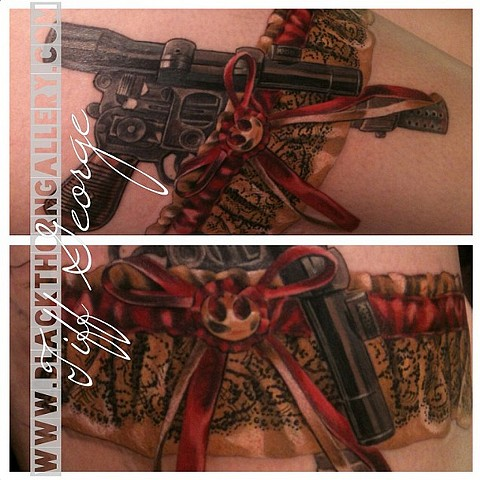 Han's Blaster  Star Wars Garter Tattoo