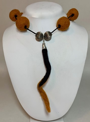Black & Gold Felt Necklace with Dangle
