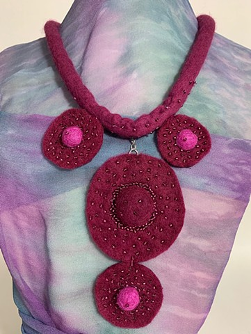 Rose Felt Necklace