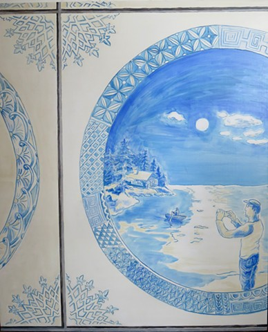 trompe l'oeil paintings of delft style tiles with contemporary scenes