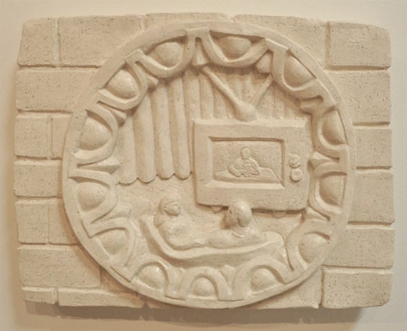 Clay relief with contemporary scene of domestic tv viewers in a classical rondel type, egg and dart frame