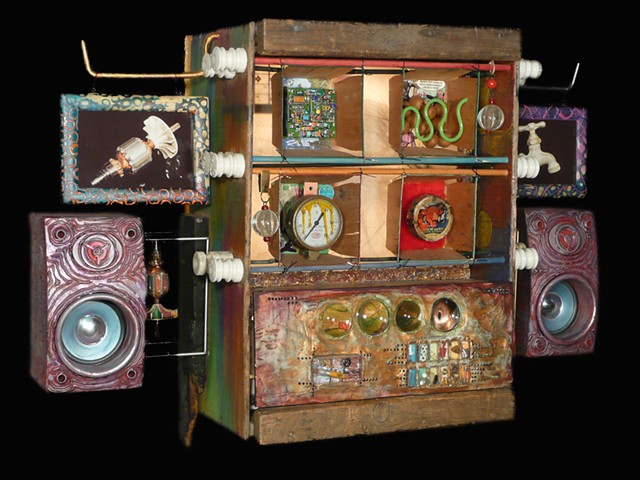 assemblage, found objects, sculpture, recycled art, mixed media