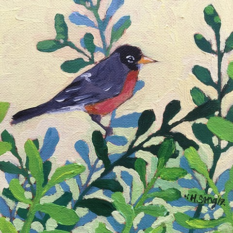 Robin in the Boxwood