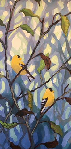 Goldfinches In The Fog