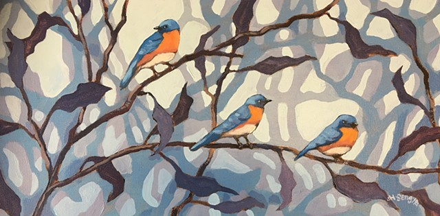Bluebirds At Dusk