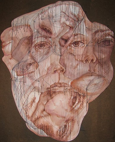 drawing, figurative, ink and thread, paper, collage