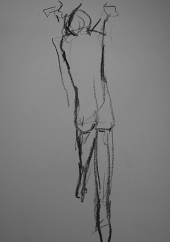drawing, figurative, charcoal, paper, collage