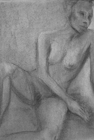 drawing, figurative, charcoal, paper