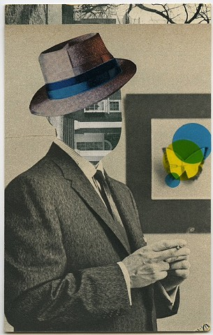 cut and paste collage on vintage postcard