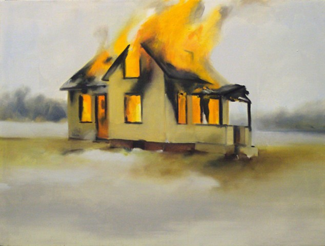 Ben Williamson artist, Ben Williamson painting, Ben Williamson art, Ben Williamson, Painting, Burning House