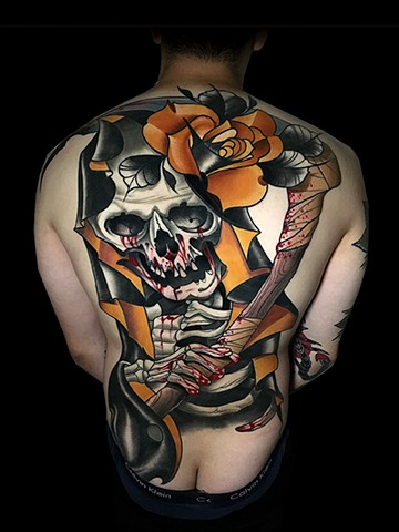 Neotraditional grim reaper skull skeleton back piece tattoo by Matt Truiano