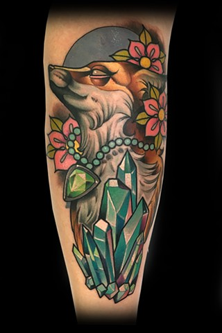 neo traditional color tattoo fox crystals matt truiano