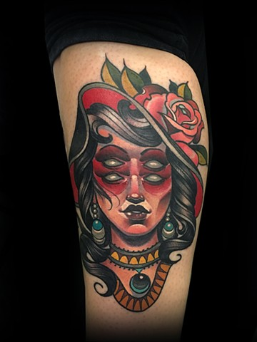 Neotraditional lady head big hat 4 eyes tattoo by Matt Truiano