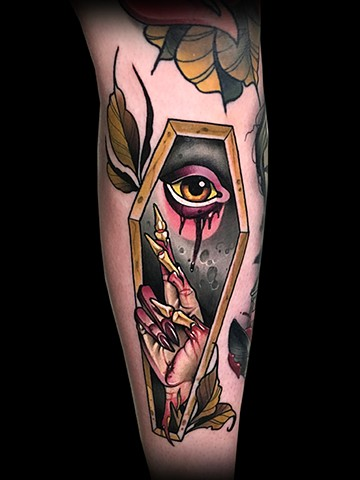 Neotraditional coffin zombie severed hand tattoo by Matt Truiano