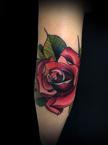 Neotraditional rose tattoo by Matt Truiano