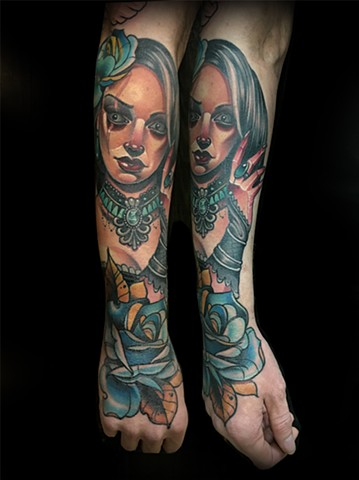 Neotraditional Victorian lady blue rose tattoo by Matt Truiano