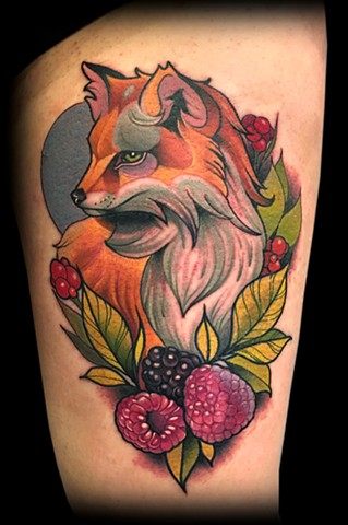 neo traditional color tattoo fox matt truiano