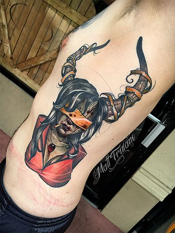 neotraditional color tattoo matt truiano lady head zombie