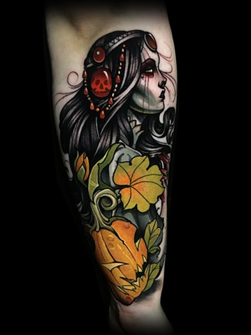 Witch pumpkin jackolantern halloween tattoo by Matt Truiano