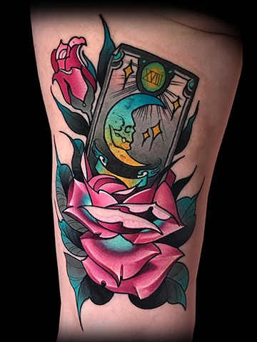 Neotraditional tarot card rose moon tattoo by Matt Truiano
