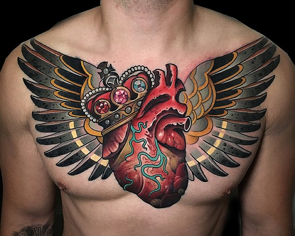 Neotraditional anatomical heart wings crown gems tattoo by Matt Truiano