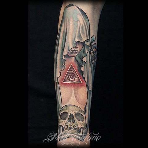 scary evil topless girl hood all seeing eye skull tattoo by matt truiano