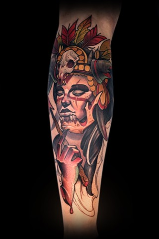 neo traditional shaman  lady head color tattoo matt truiano nyc