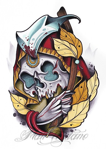 neotraditional skull reaper hand leaves copic marker matt truiano