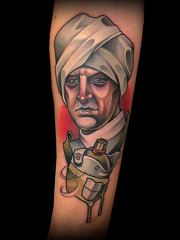Neotraditional Gunga din you're a better man than I tattoo by Matt Truiano