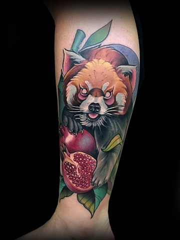 Neotraditional red panda pomegranate tattoo by Matt Truiano