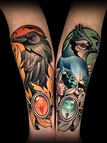 neotraditional tattoo sleeve  by matt truiano skull reaper lady head raven blue jay birds bird