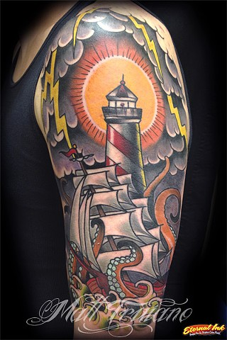 lighthouse ship octopus tentacles sea monster traditional old school tattoo by matt truiano
