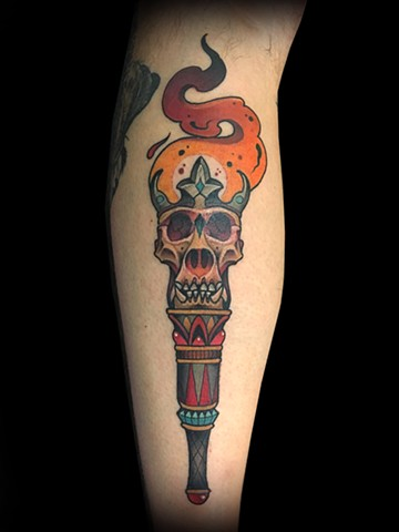 Neotraditional torch gorilla skull tattoo by Matt Truiano