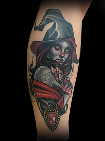 Neotraditional witch Halloween tattoo by Matt Truiano