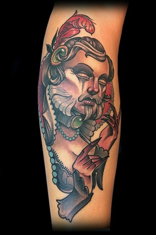 neo traditional bearded lady head color tattoo matt truiano