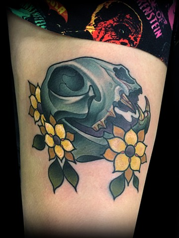 Neotraditional bat skull tattoo by Matt Truiano