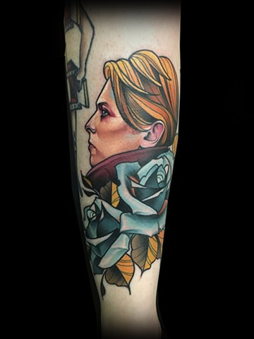 Neotraditional david Bowie tattoo blue roses by Matt Truiano