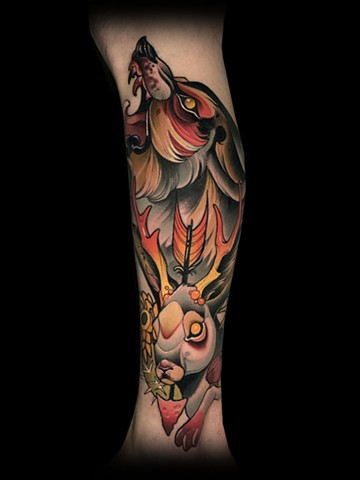 neotraditional wolf jackalope arrow cactus tattoo by matt truiano