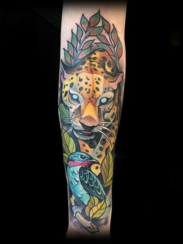 neo traditional color tattoo leopard matt truiano nyc