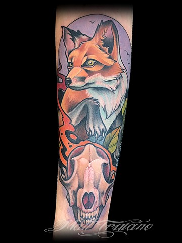 neo traditional fox skull tattoo