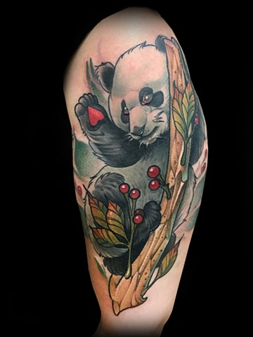 Neotraditional Panda in tree tattoo by Matt Truiano