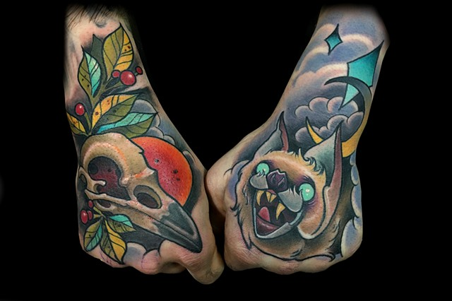 neo traditional fox skull tattoo bat hand matt truiano