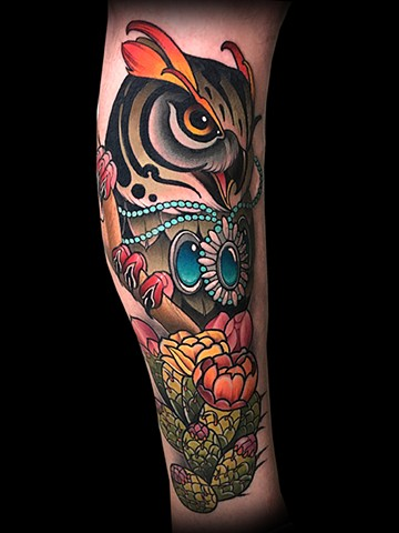 Neotraditional owl native American jewelry cactus flower tattoo by Matt Truiano
